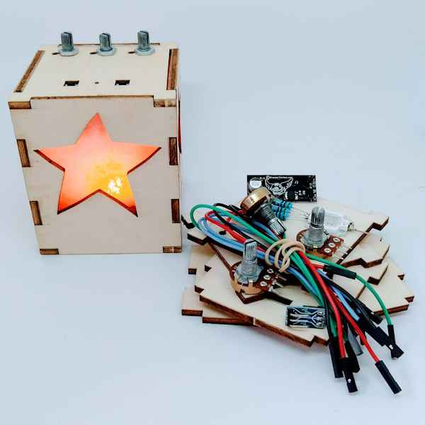 Using potentiometers or POTS, our electronics lantern kit enables your child to learn about resistance hands-on as they make every colour on the spectrum!