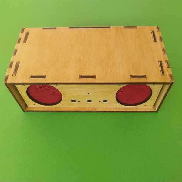 A wooden Bluetooth speaker made using our SharperThinker kit