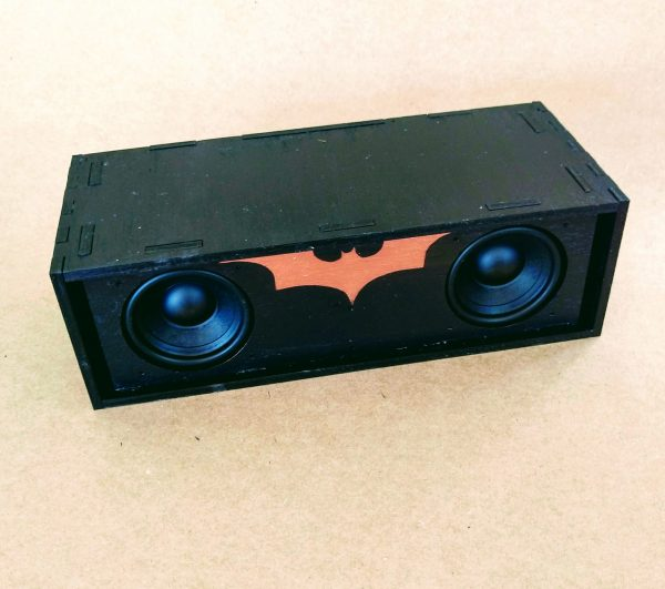 Black painted speaker with copper batman logo
