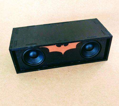 Black painted speaker with copper batman logo