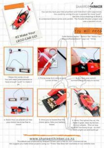Photos showing how to add a motor and switch to a Lego car to make it go.