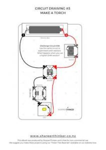 This circuit drawing fits neatly over the baseboard and gives kids the confidence that their circuit is correct before they make their torch.