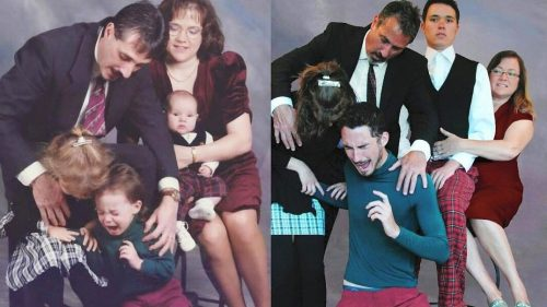 Make a fun memory this Fathers Day by recreating an old family photo.